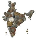 Indian country map made with old, new india coins Royalty Free Stock Images