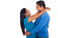 Indian couple hugging lovely isolated on white background Stock Photos