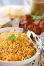 Indian cuisine biryani rice and chicken curry Royalty Free Stock Photography