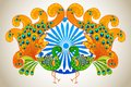 Indian culture vector illustration of flag colored decorated peacock Stock Photography
