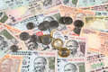 Indian currency notes and coins closeup view of Royalty Free Stock Image