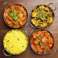 Indian curries and rice food chicken vegetable with pilau Royalty Free Stock Image