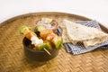 Indian dish kathi kebab or mix masla dish of soya chees mushr mushroom with bread Royalty Free Stock Image