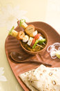 Indian dish kathi kebab or mix masla of soya chees mushroom with bread Stock Photos