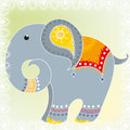 Indian elephant cartoon and pattern Stock Photography