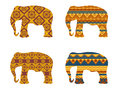 Indian elephant pattern. The tribal pattern on elephants. Set of vector illustrations.