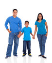 Indian family cheerful young holding hands on white background Stock Photo