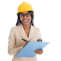 Indian female construction engineer smiling with safety helmet smiling happy writing report portrait of beautiful asian Royalty Free Stock Images