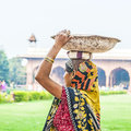 Indian female worker carry stones Royalty Free Stock Photo