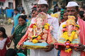 Indian festival religious of ganesha immersion in sea water in india Royalty Free Stock Image