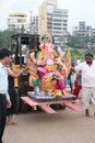 Indian festival religious of ganesha immersion in sea water in india Stock Photo