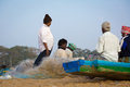 Indian fisherman chenai india february on the marina beach at morning Royalty Free Stock Photos