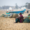 Indian fisherman chenai india february on the marina beach at morning Royalty Free Stock Photo