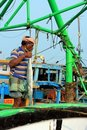 Indian fisherman on his boat in Kanyakumari, India Stock Photos