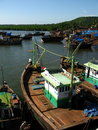 Indian fishing boats in harbor Royalty Free Stock Photos