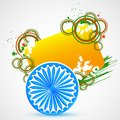 Indian flag with ashoka chakra vector illustration of grungy Royalty Free Stock Photo