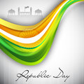 Indian flag color creative wave background with Asoka wheel. Royalty Free Stock Photography