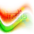 Indian flag color creative wave background with Asoka wheel. Stock Images