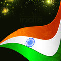 Indian flag color creative wave background with Asoka wheel. Royalty Free Stock Photos