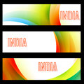 Indian flag headers beautiful set of Royalty Free Stock Photo