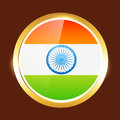 Indian flag label vector golden design Royalty Free Stock Images
