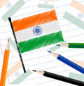 Indian flag sketch on note book paper. Stock Photos