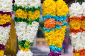 Indian flower garlands for sales during diwali festival Stock Photos