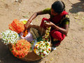 Indian flower seller Royalty Free Stock Photos