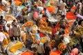 Indian flowers street market Royalty Free Stock Photo
