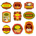 Indian Food Colorful Emblems Royalty Free Stock Photo
