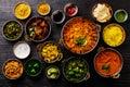 Indian food Curry butter chicken, Palak Paneer, Chiken Tikka, Biryani, Vegetable Curry, Papad, Dal, Palak Sabji, Jira Alu Royalty Free Stock Photo