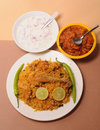 Indian food plate of chicken biriyani Stock Image