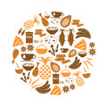 Indian food theme set of simple icons in circle eps10 Royalty Free Stock Photo