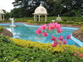 Landscaped Indian garden with pond Royalty Free Stock Photo