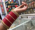 Indian girl in the bangle market Royalty Free Stock Photo