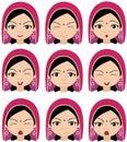 Indian girl in a headdress emotions joy surprise fear sadnes muslim vector cartoon illustration Royalty Free Stock Photography