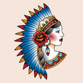 Indian girl native american in national headdress tattoo art illustration Royalty Free Stock Images