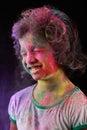 Indian girl plays holi Royalty Free Stock Photo