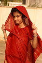 Indian girl in red sari Stock Photo