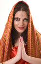 Indian girl in red shawl Royalty Free Stock Photo