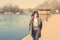 Indian girl walking at park in London