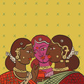 Indian girls gossiping after collecting tea talking retro illustration Royalty Free Stock Image