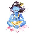 Indian God Krishna. Watercolor illustration.