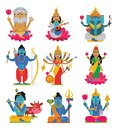 Indian god vector hindu godhead of goddess character and hinduism godlike idol Ganesha in India illustration set of