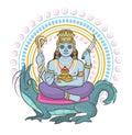 Indian god vector hinduism godhead of goddess and godlike idol Ganesha in India illustration set of asian godly religion Royalty Free Stock Photo