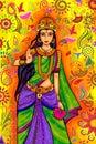 Indian Goddess Lakshmi for Diwali festival celebration in India