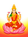 Indian goddess lakshmi hindu of wealth prosperity fortune and the embodiment of beauty Royalty Free Stock Images