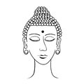 Indian head buddha meditation closed eyes coloring. vector illus