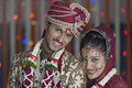 Indian Hindu Bride & Groom a happy smiling couple. Royalty Free Stock Photo