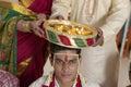 Indian Hindu symbolic ritual in wedding. Royalty Free Stock Photo